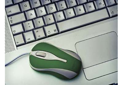 picture of a green mouse on an Apple Mac