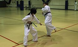 A young boy and girl practicing karate moves